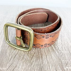 Fossil Brown Leather Embossed Belt Brass Buckle S